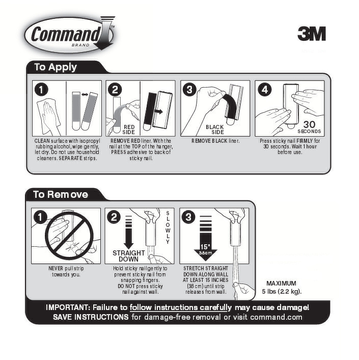 3M Command Strip Removal Instructions